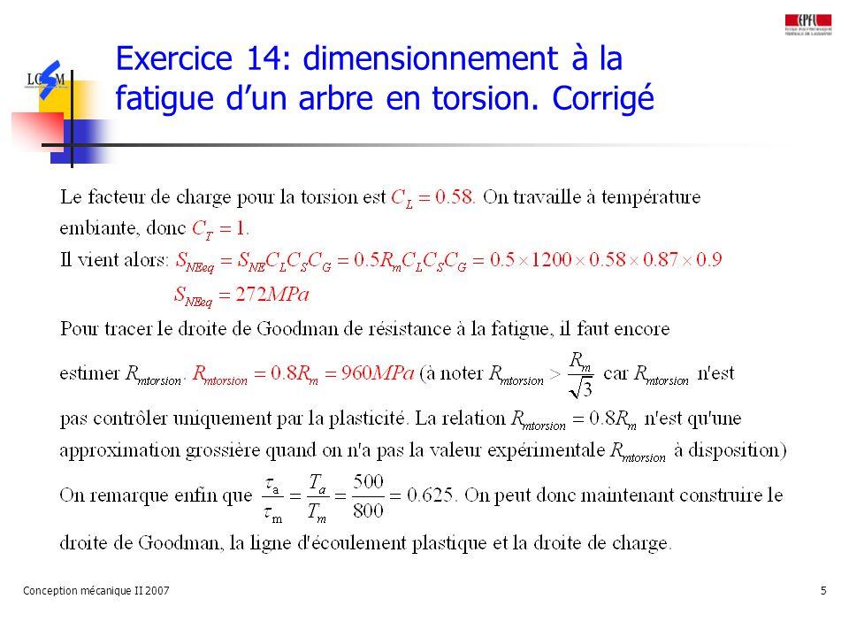 Conception mécanique II 20075 Exercice 14: dimensionnement à la fatigue dun arbre en torsion.