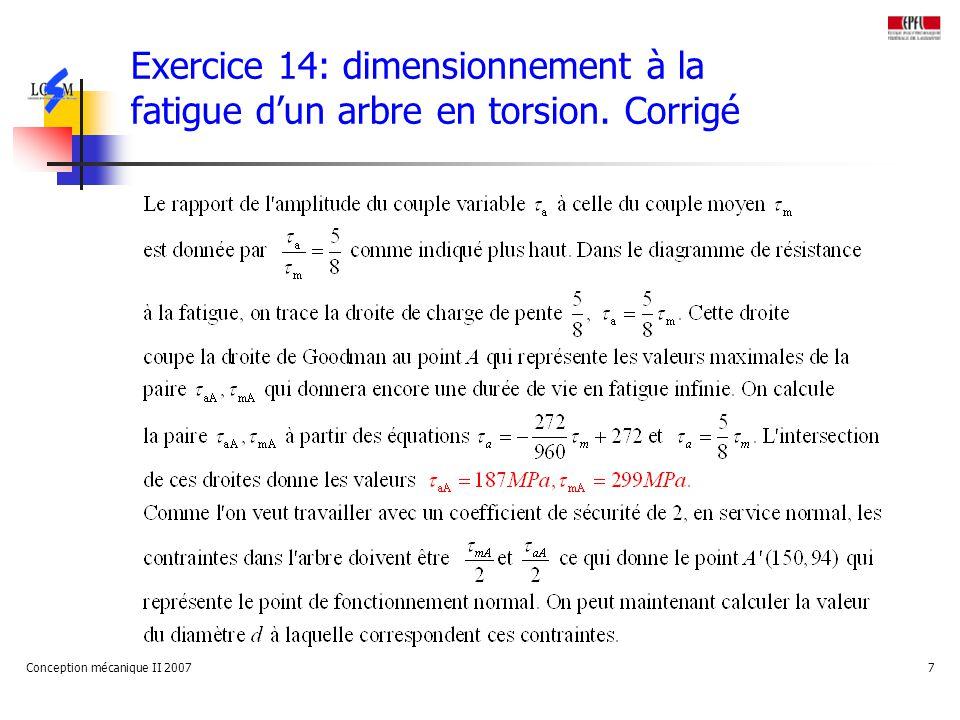 Conception mécanique II 20077 Exercice 14: dimensionnement à la fatigue dun arbre en torsion.