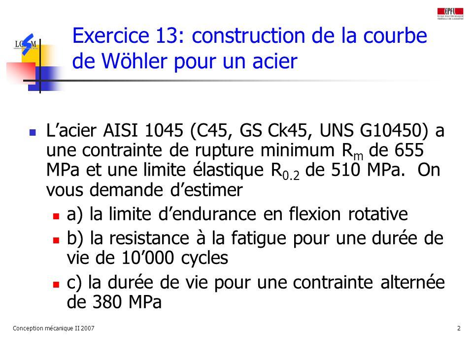 Conception mécanique II 20072 Exercice 13: construction de la courbe de Wöhler pour un acier Lacier AISI 1045 (C45, GS Ck45, UNS G10450) a une contrai