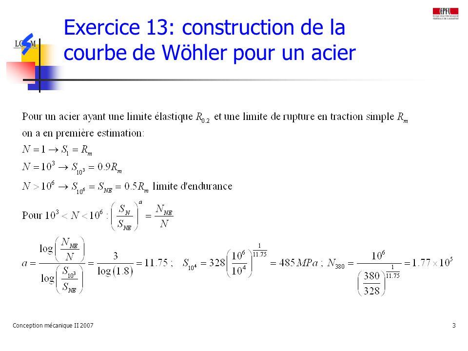 Conception mécanique II 20073 Exercice 13: construction de la courbe de Wöhler pour un acier