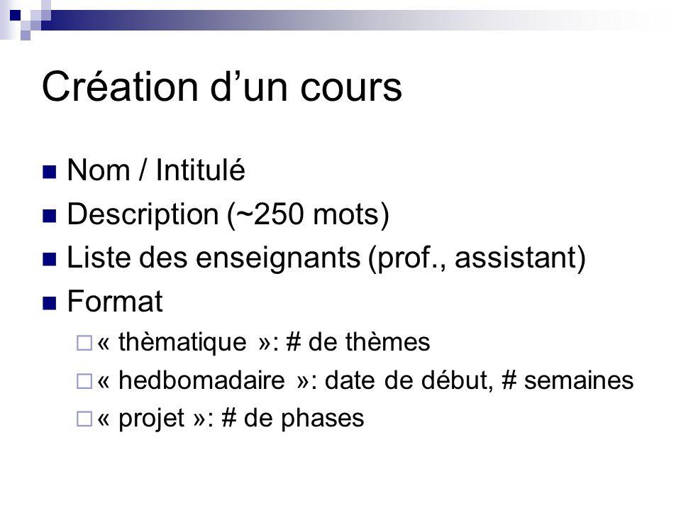 Création dun cours Nom / Intitulé Description (~250 mots) Liste des enseignants (prof., assistant) Format « thèmatique »: # de thèmes « hedbomadaire »: date de début, # semaines « projet »: # de phases