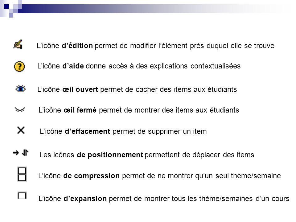 Licône dédition permet de modifier lélément près duquel elle se trouve Licône daide donne accès à des explications contextualisées Licône œil ouvert p