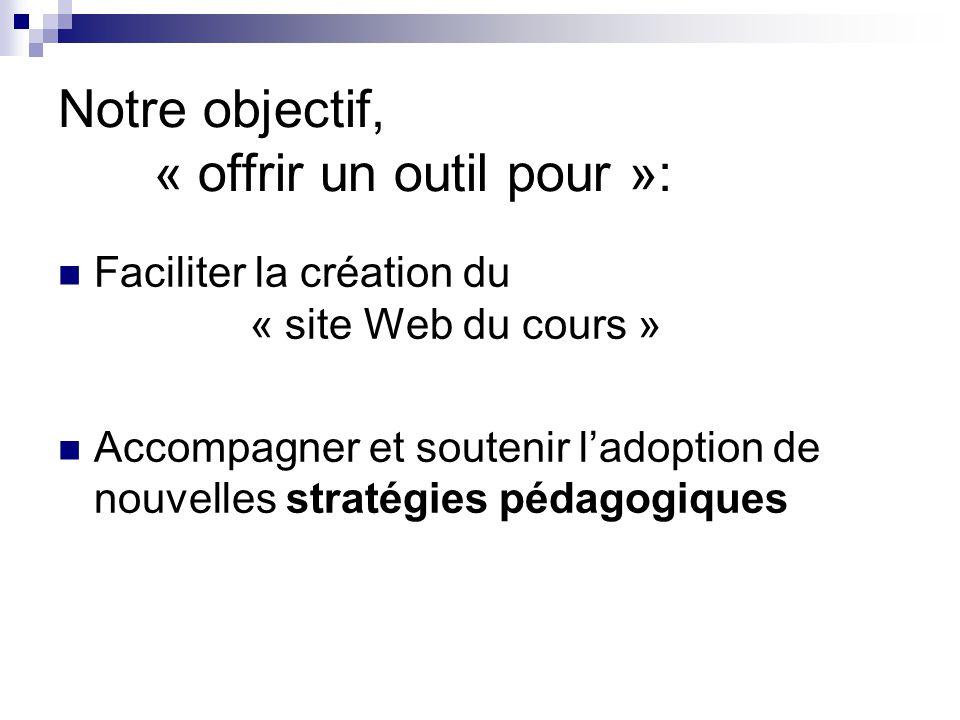Notre objectif, « offrir un outil pour »: Faciliter la création du « site Web du cours » Accompagner et soutenir ladoption de nouvelles stratégies péd