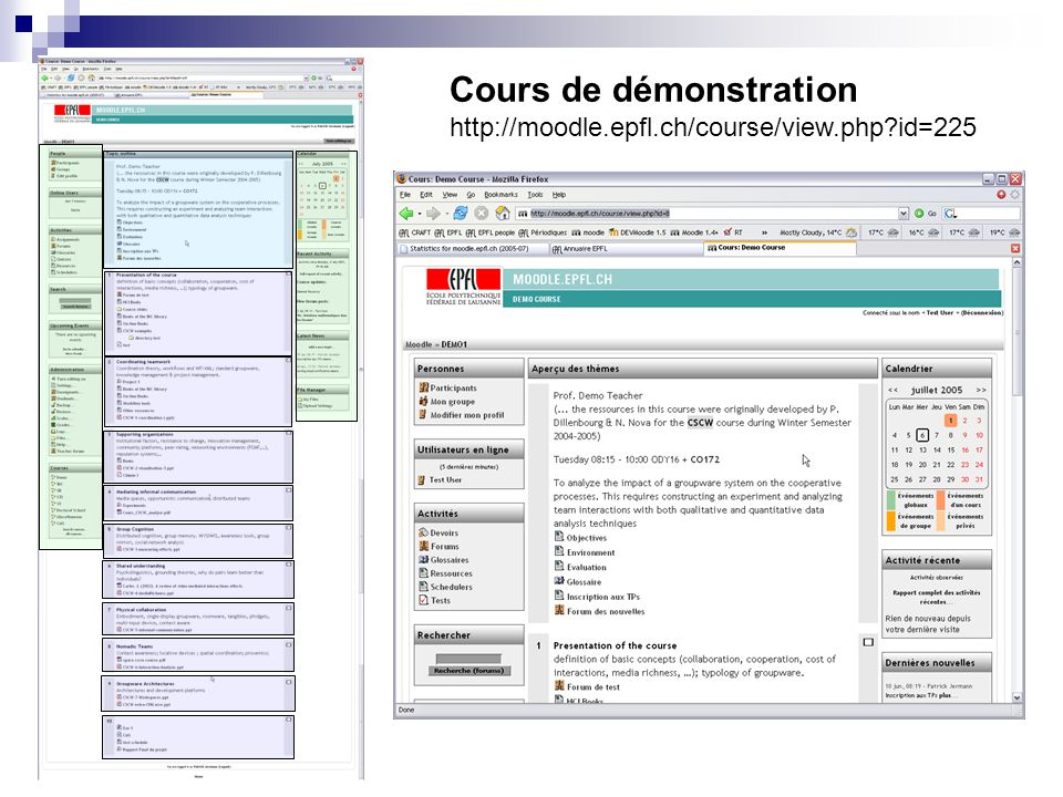 Cours de démonstration http://moodle.epfl.ch/course/view.php?id=225