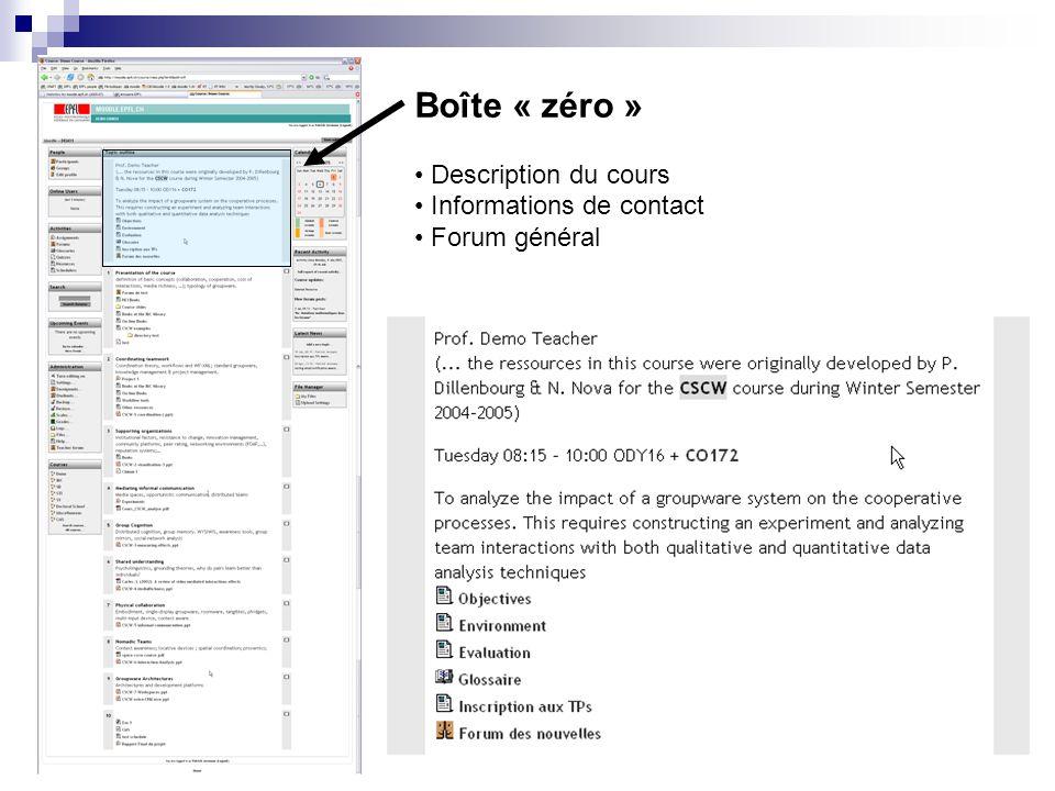 Boîte « zéro » Description du cours Informations de contact Forum général