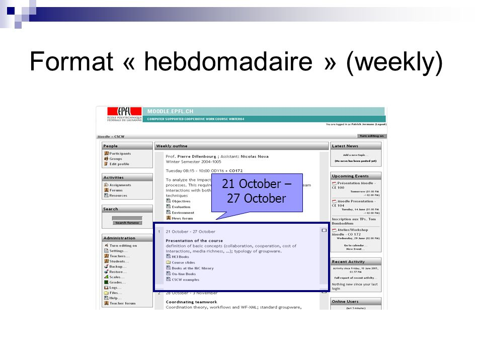 Format « hebdomadaire » (weekly) 21 October – 27 October