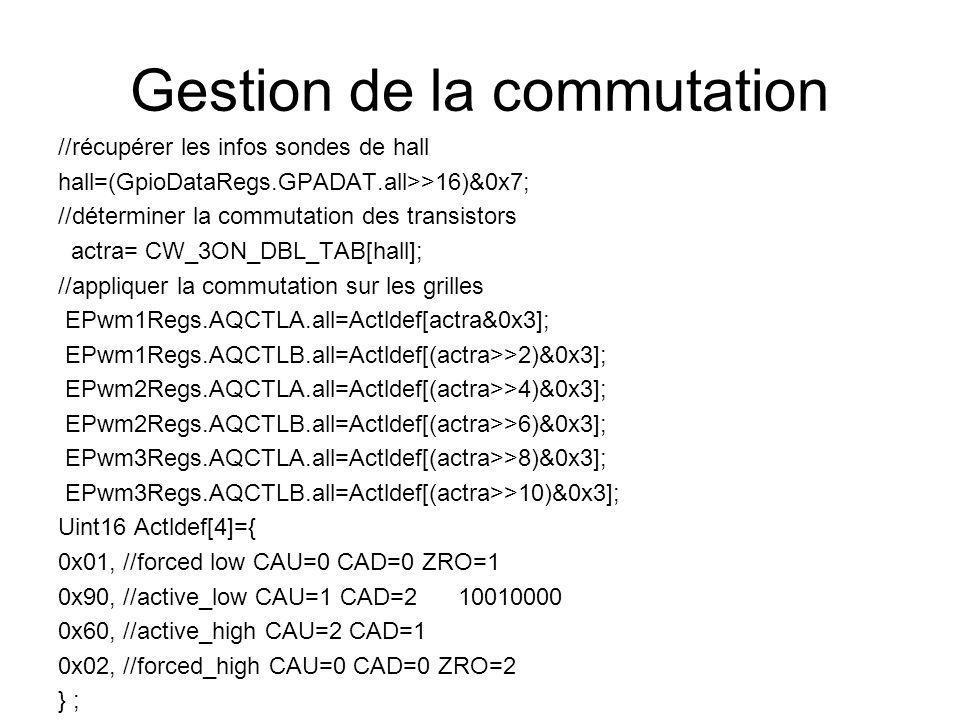 Gestion de la commutation //récupérer les infos sondes de hall hall=(GpioDataRegs.GPADAT.all>>16)&0x7; //déterminer la commutation des transistors actra= CW_3ON_DBL_TAB[hall]; //appliquer la commutation sur les grilles EPwm1Regs.AQCTLA.all=Actldef[actra&0x3]; EPwm1Regs.AQCTLB.all=Actldef[(actra>>2)&0x3]; EPwm2Regs.AQCTLA.all=Actldef[(actra>>4)&0x3]; EPwm2Regs.AQCTLB.all=Actldef[(actra>>6)&0x3]; EPwm3Regs.AQCTLA.all=Actldef[(actra>>8)&0x3]; EPwm3Regs.AQCTLB.all=Actldef[(actra>>10)&0x3]; Uint16 Actldef[4]={ 0x01, //forced low CAU=0 CAD=0 ZRO=1 0x90, //active_low CAU=1 CAD=2 10010000 0x60, //active_high CAU=2 CAD=1 0x02, //forced_high CAU=0 CAD=0 ZRO=2 } ;
