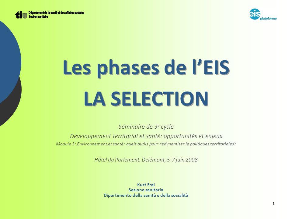 1 Les phases de lEIS LA SELECTION Séminaire de 3 e cycle Développement territorial et santé: opportunitès et enjeux Module 3: Environnement et santé: quels outils pour redynamiser le politiques territoriales.