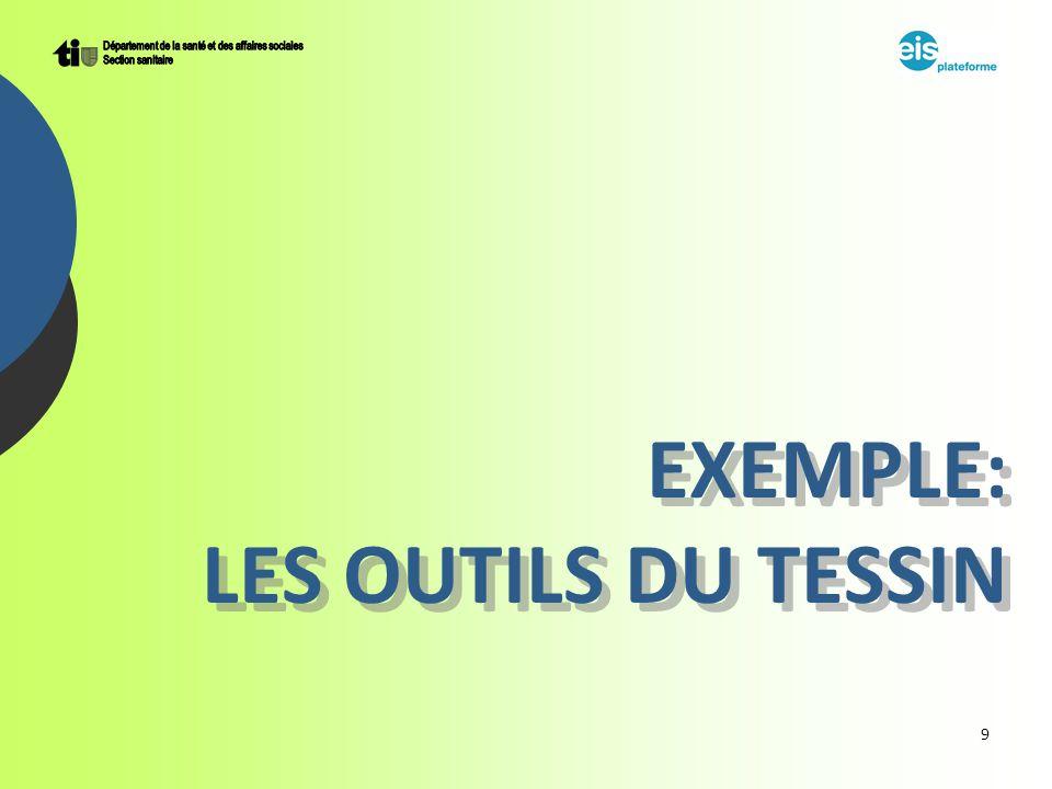 9 EXEMPLE: LES OUTILS DU TESSIN