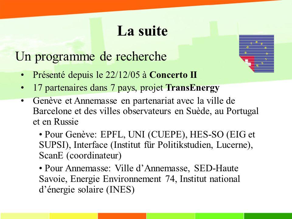 Un programme de recherche Présenté depuis le 22/12/05 à Concerto II 17 partenaires dans 7 pays, projet TransEnergy Genève et Annemasse en partenariat avec la ville de Barcelone et des villes observateurs en Suède, au Portugal et en Russie Pour Genève: EPFL, UNI (CUEPE), HES-SO (EIG et SUPSI), Interface (Institut für Politikstudien, Lucerne), ScanE (coordinateur) Pour Annemasse: Ville dAnnemasse, SED-Haute Savoie, Energie Environnement 74, Institut national dénergie solaire (INES) La suite