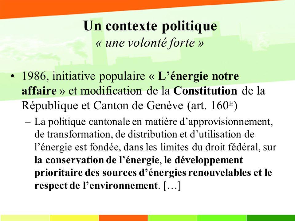 Un contexte politique « une volonté forte » 1986, initiative populaire « Lénergie notre affaire » et modification de la Constitution de la République et Canton de Genève (art.