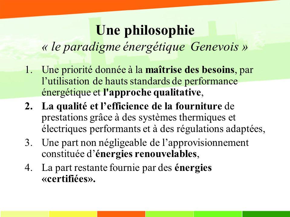 Une philosophie « le paradigme énergétique Genevois » 1.Une priorité donnée à la maîtrise des besoins, par lutilisation de hauts standards de performance énergétique et l approche qualitative, 2.La qualité et lefficience de la fourniture de prestations grâce à des systèmes thermiques et électriques performants et à des régulations adaptées, 3.Une part non négligeable de lapprovisionnement constituée dénergies renouvelables, 4.La part restante fournie par des énergies «certifiées».