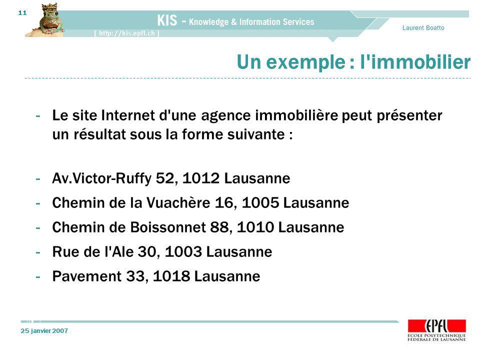 25 janvier 2007 Laurent Boatto 11 Un exemple : l'immobilier -Le site Internet d'une agence immobilière peut présenter un résultat sous la forme suivan