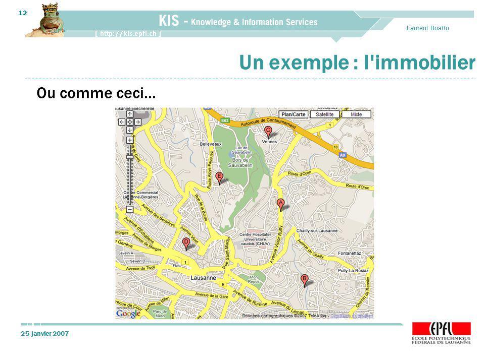 25 janvier 2007 Laurent Boatto 12 Un exemple : l'immobilier Ou comme ceci...