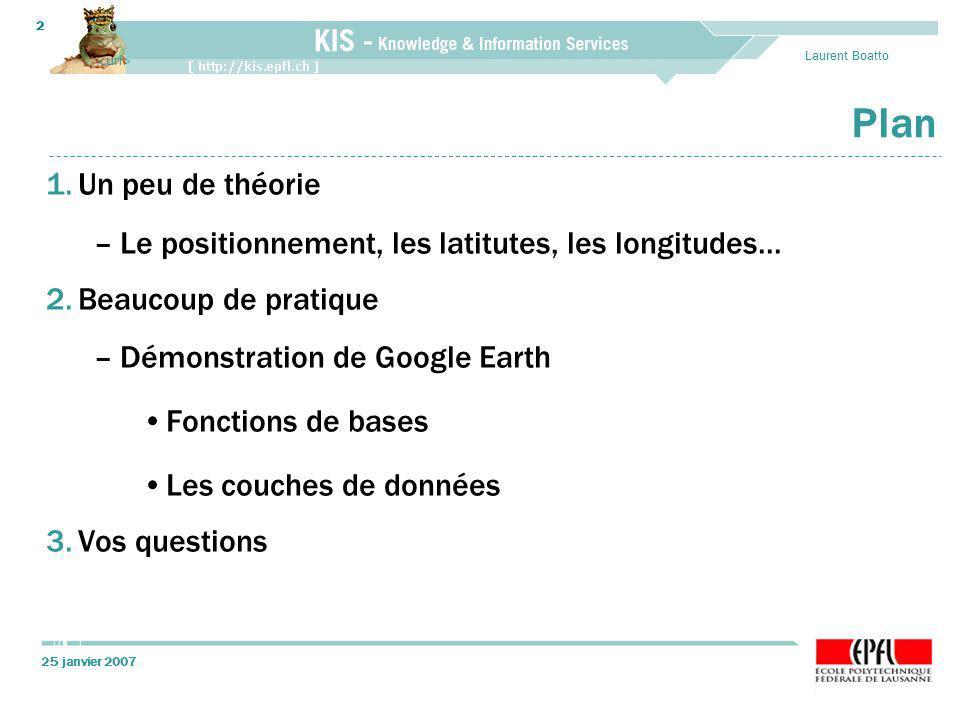 25 janvier 2007 Laurent Boatto 2 Plan 1.Un peu de théorie –Le positionnement, les latitutes, les longitudes... 2.Beaucoup de pratique –Démonstration d