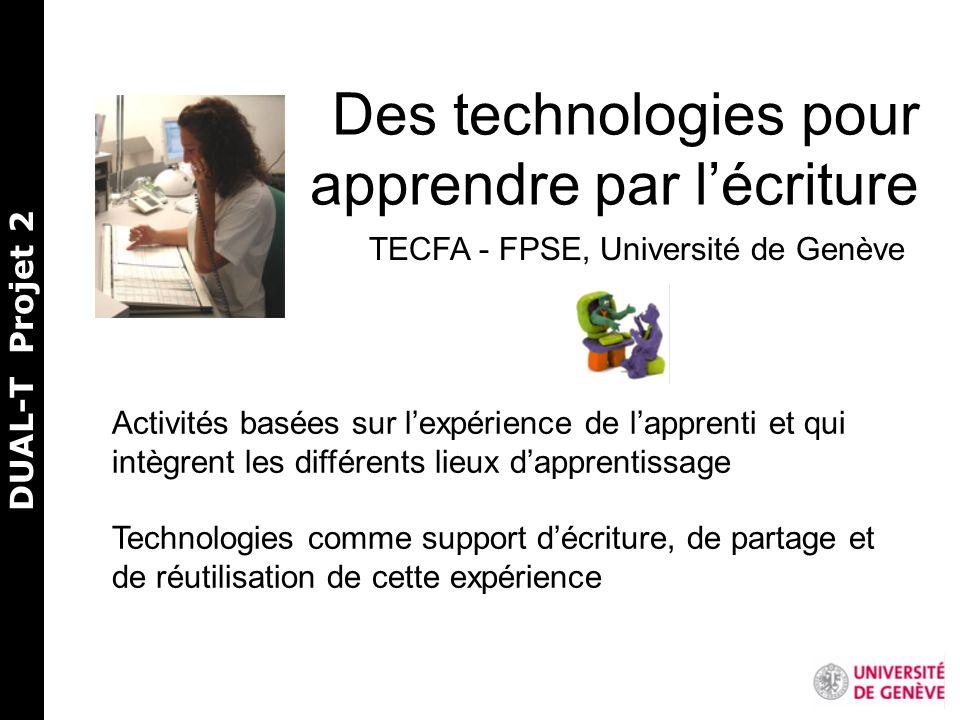 Des technologies pour apprendre par lécriture TECFA - FPSE, Université de Genève Activités basées sur lexpérience de lapprenti et qui intègrent les différents lieux dapprentissage Technologies comme support décriture, de partage et de réutilisation de cette expérience DUAL-T Projet 2