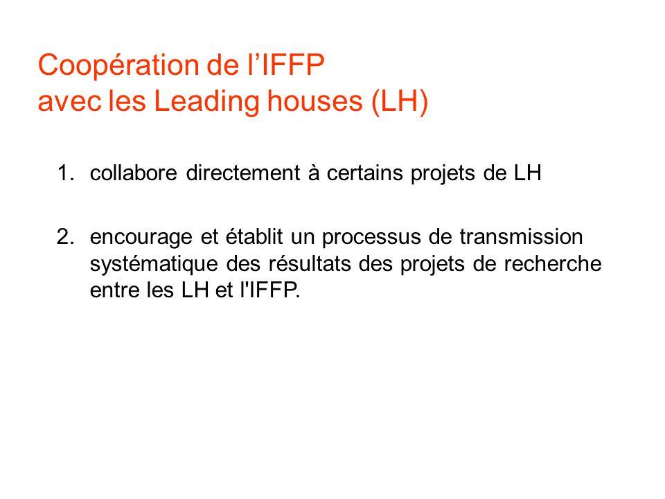 Coopération de lIFFP avec les Leading houses (LH) 1.collabore directement à certains projets de LH 2.encourage et établit un processus de transmission systématique des résultats des projets de recherche entre les LH et l IFFP.