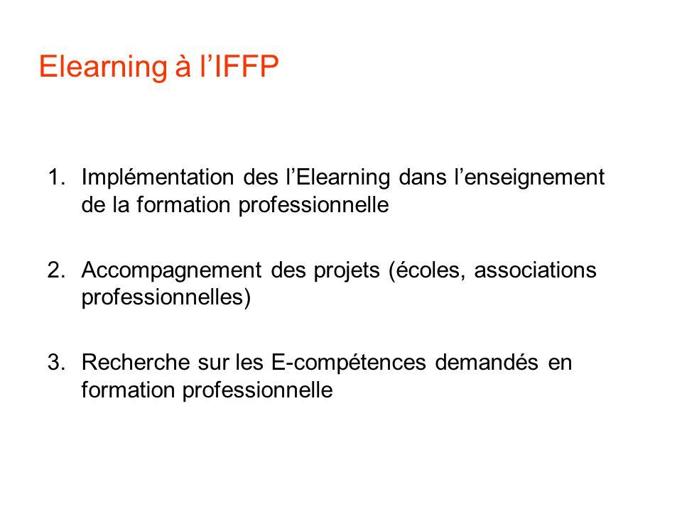Elearning à lIFFP 1.Implémentation des lElearning dans lenseignement de la formation professionnelle 2.Accompagnement des projets (écoles, associations professionnelles) 3.Recherche sur les E-compétences demandés en formation professionnelle