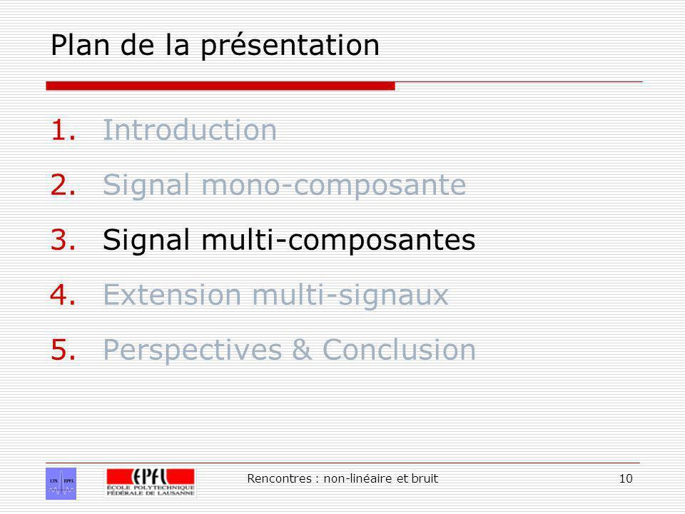 Rencontres : non-linéaire et bruit10 Plan de la présentation 1.