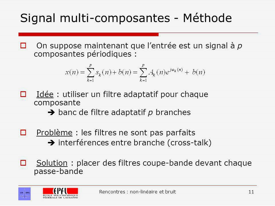 Rencontres : non-linéaire et bruit11 Signal multi-composantes - Méthode On suppose maintenant que lentrée est un signal à p composantes périodiques : Idée : utiliser un filtre adaptatif pour chaque composante banc de filtre adaptatif p branches Problème : les filtres ne sont pas parfaits interférences entre branche (cross-talk) Solution : placer des filtres coupe-bande devant chaque passe-bande