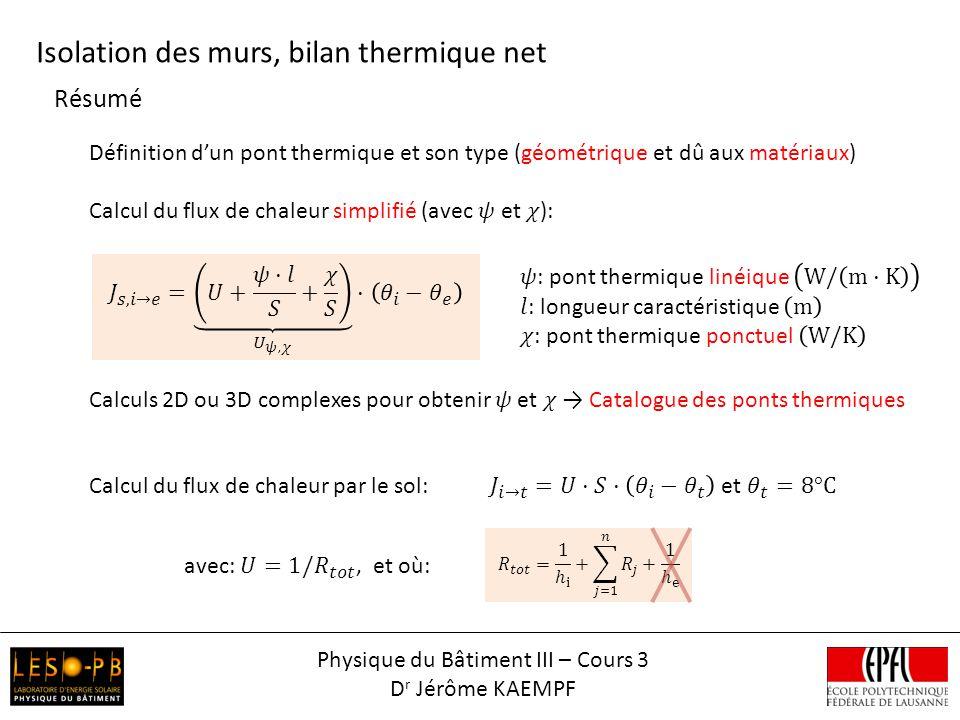 Résumé Isolation des murs, bilan thermique net Physique du Bâtiment III – Cours 3 D r Jérôme KAEMPF