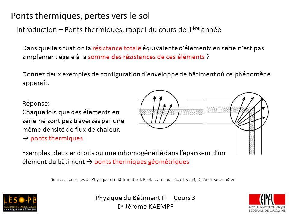 Introduction – Ponts thermiques, rappel du cours de 1 ère année Ponts thermiques, pertes vers le sol Source: Exercices de Physique du Bâtiment I/II, P