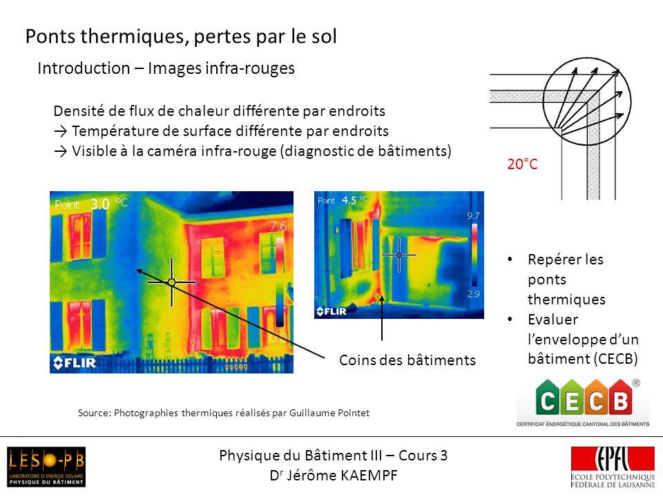 Introduction – Images infra-rouges Ponts thermiques, pertes par le sol Source: Photographies thermiques réalisés par Guillaume Pointet Densité de flux