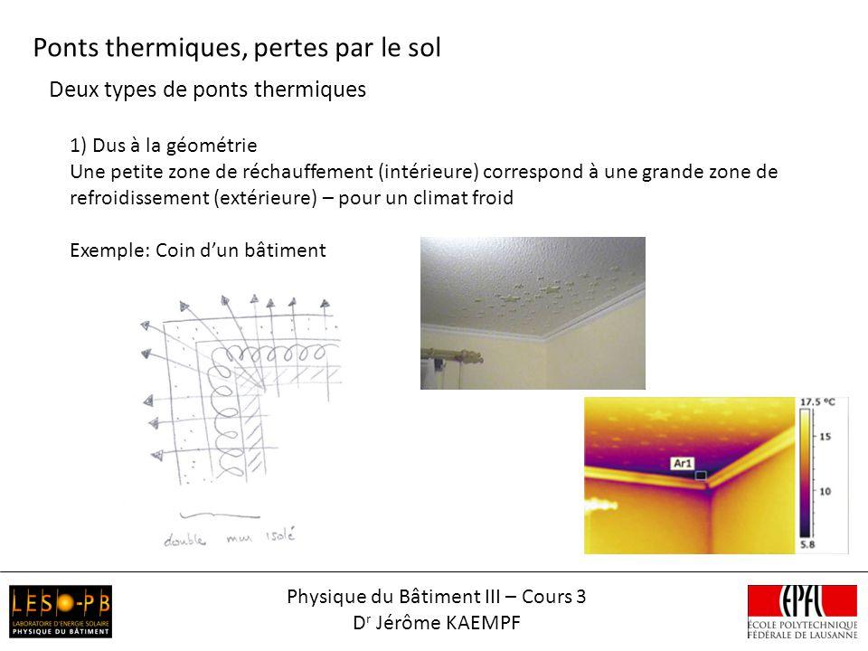 Deux types de ponts thermiques Ponts thermiques, pertes par le sol 1) Dus à la géométrie Une petite zone de réchauffement (intérieure) correspond à un