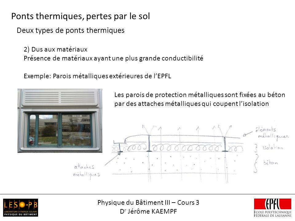 Deux types de ponts thermiques Ponts thermiques, pertes par le sol 2) Dus aux matériaux Présence de matériaux ayant une plus grande conductibilité Exe