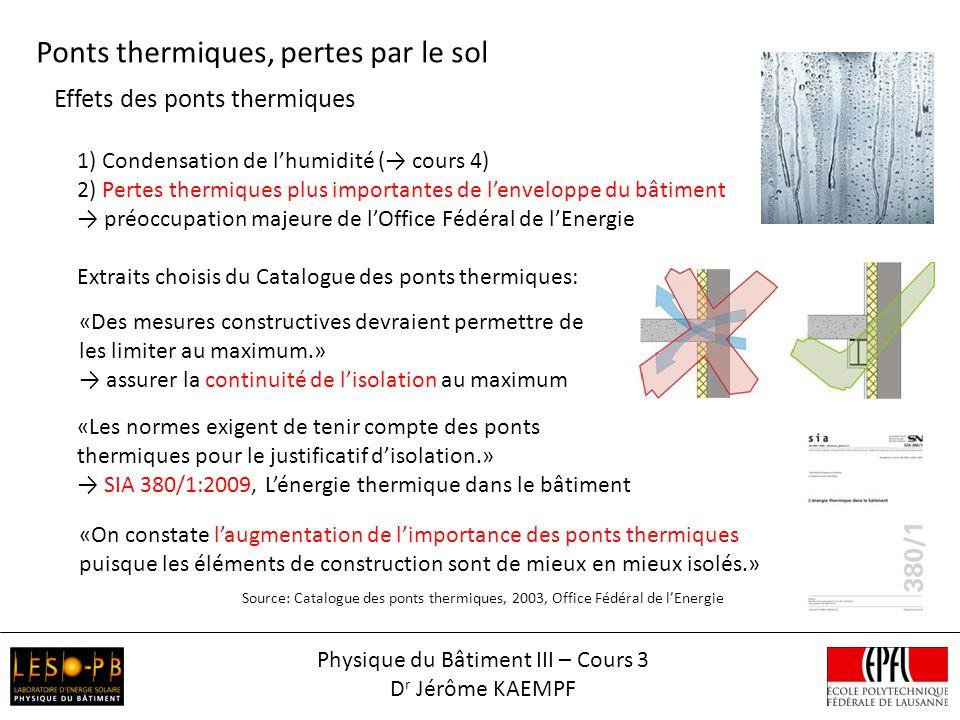 Effets des ponts thermiques Ponts thermiques, pertes par le sol 1) Condensation de lhumidité ( cours 4) 2) Pertes thermiques plus importantes de lenve