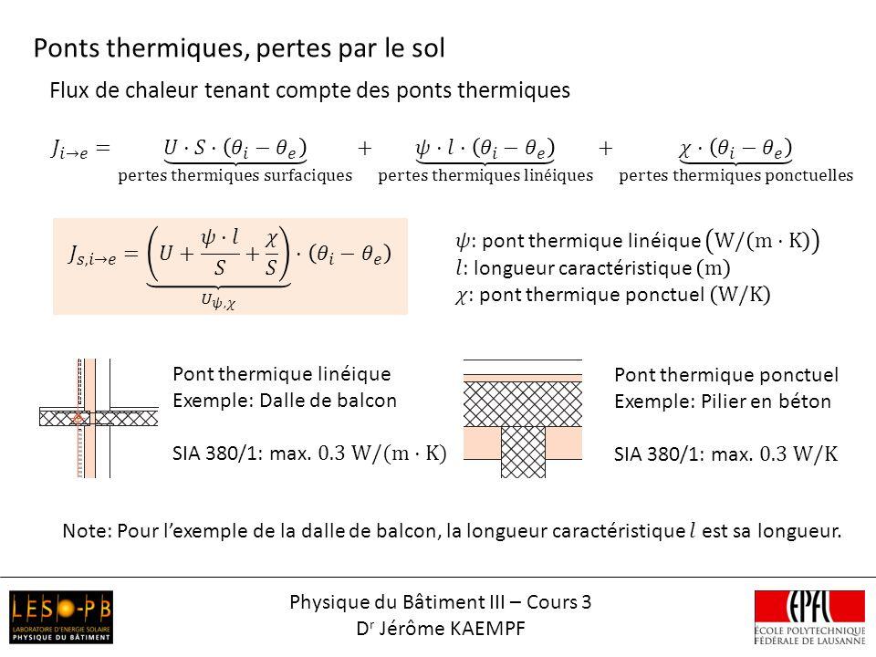 Flux de chaleur tenant compte des ponts thermiques Ponts thermiques, pertes par le sol Physique du Bâtiment III – Cours 3 D r Jérôme KAEMPF