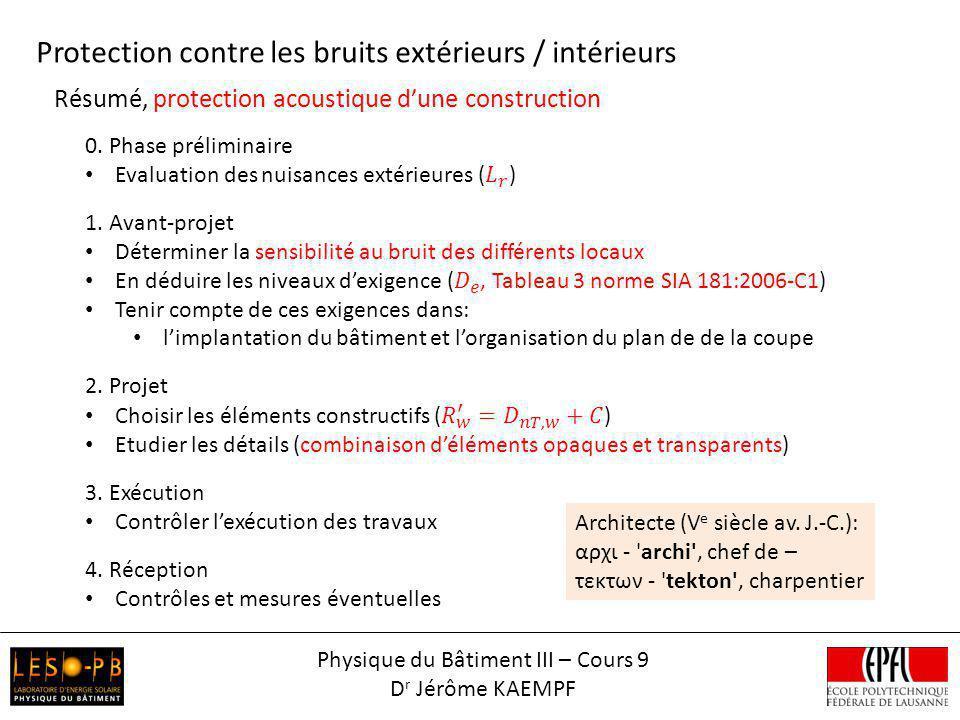 Résumé, protection acoustique dune construction Protection contre les bruits extérieurs / intérieurs Physique du Bâtiment III – Cours 9 D r Jérôme KAE