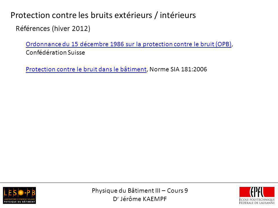 Références (hiver 2012) Ordonnance du 15 décembre 1986 sur la protection contre le bruit (OPB)Ordonnance du 15 décembre 1986 sur la protection contre