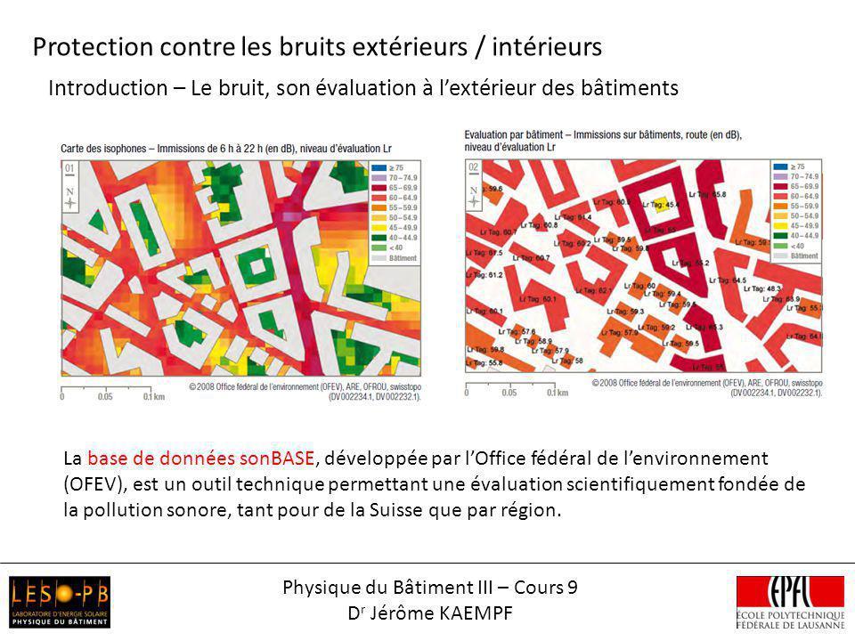 Introduction – Le bruit, son évaluation à lextérieur des bâtiments Protection contre les bruits extérieurs / intérieurs Physique du Bâtiment III – Cou