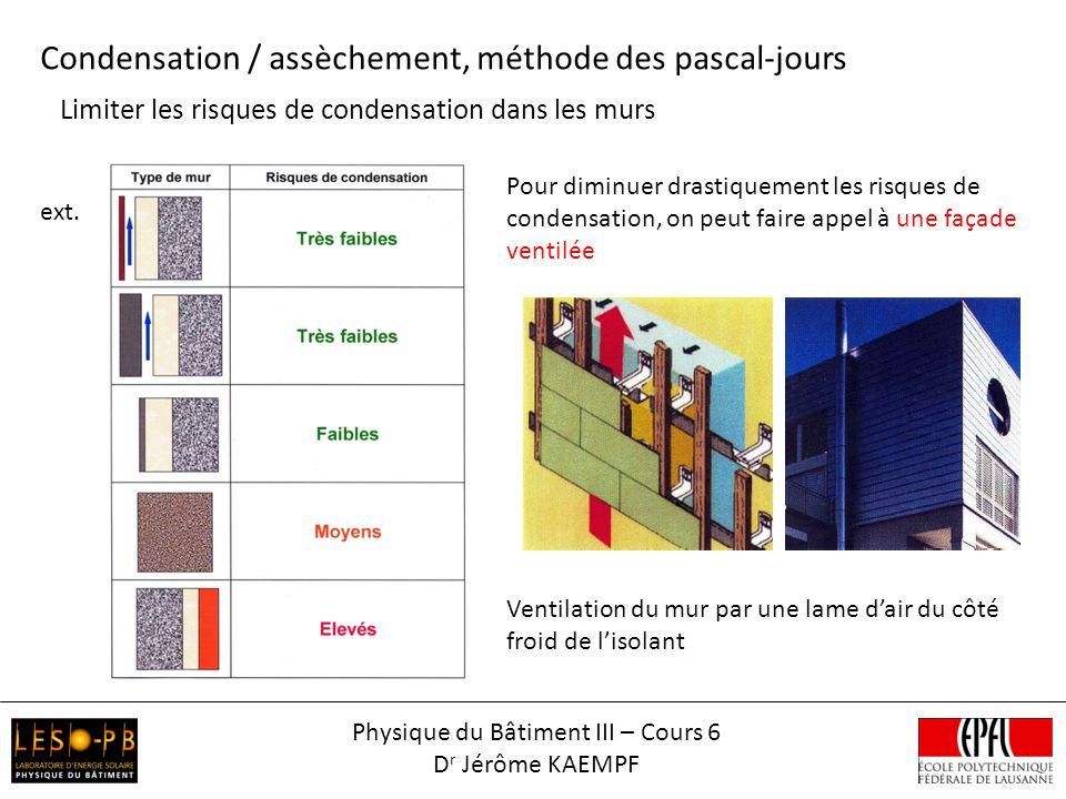 Limiter les risques de condensation dans les murs Condensation / assèchement, méthode des pascal-jours Pour diminuer drastiquement les risques de condensation, on peut faire appel à une façade ventilée ext.
