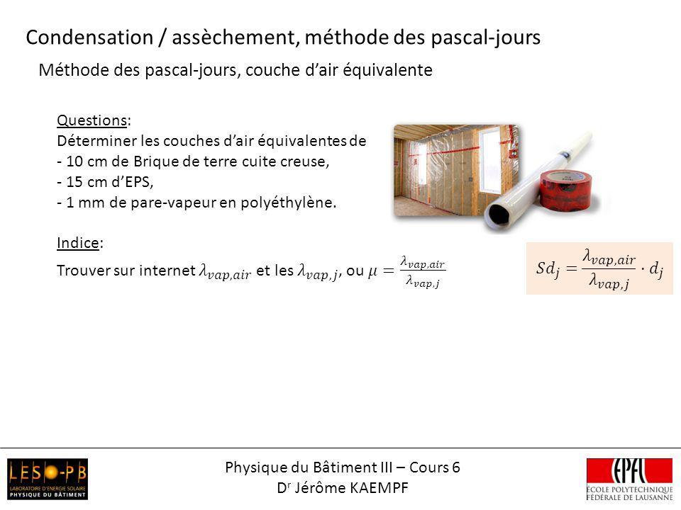 Méthode des pascal-jours, quantité deau condensée Condensation / assèchement, méthode des pascal-jours ext.