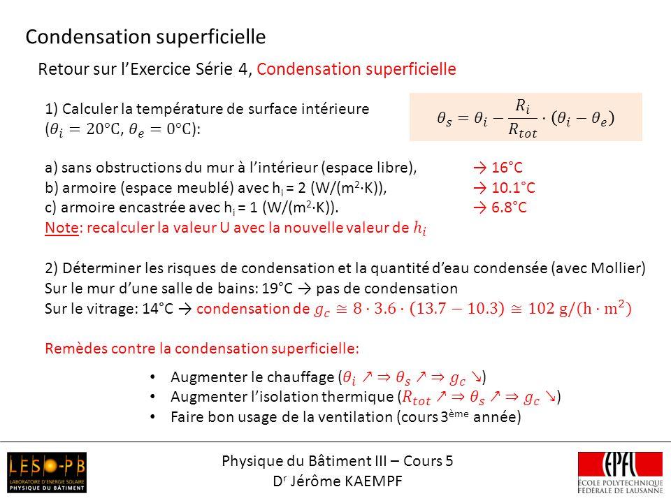 Retour sur lExercice Série 4, Condensation superficielle Condensation superficielle Physique du Bâtiment III – Cours 5 D r Jérôme KAEMPF