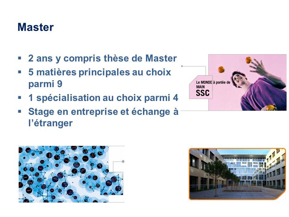 Master 2 ans y compris thèse de Master 5 matières principales au choix parmi 9 1 spécialisation au choix parmi 4 Stage en entreprise et échange à létranger