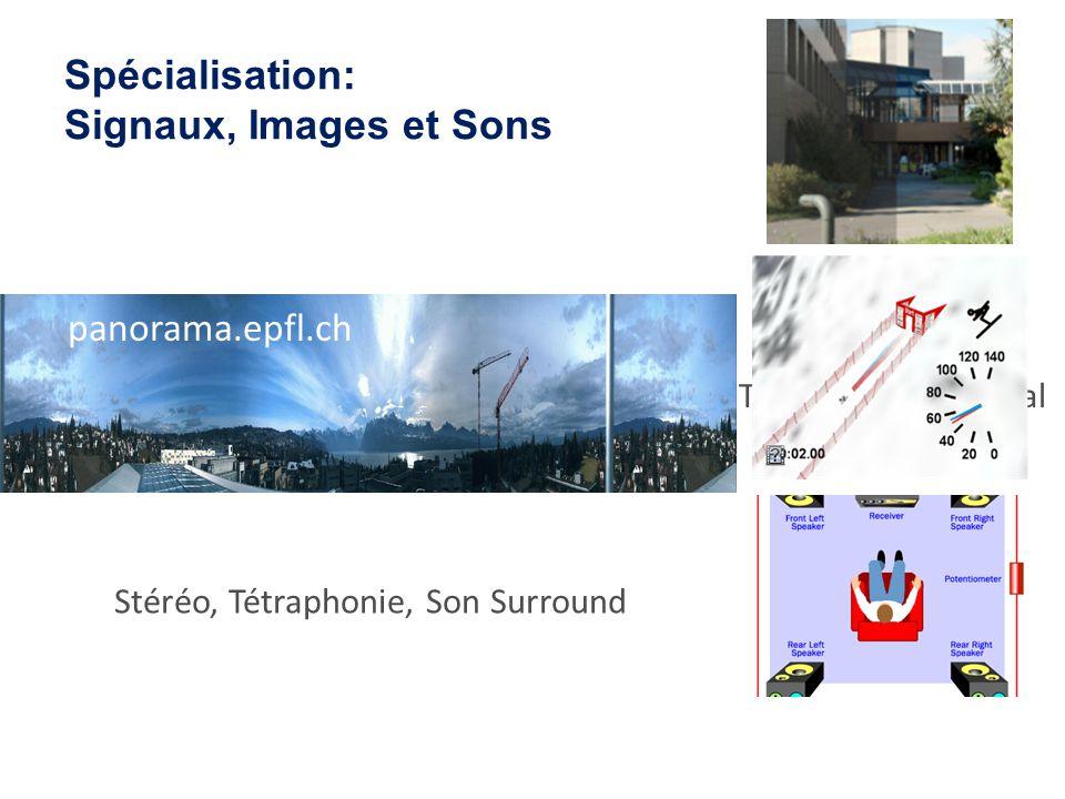 Spécialisation: Signaux, Images et Sons Analyse dimages par GPS et données vidéo Stéréo, Tétraphonie, Son Surround Amélioration dImage par Traitement du Signal panorama.epfl.ch