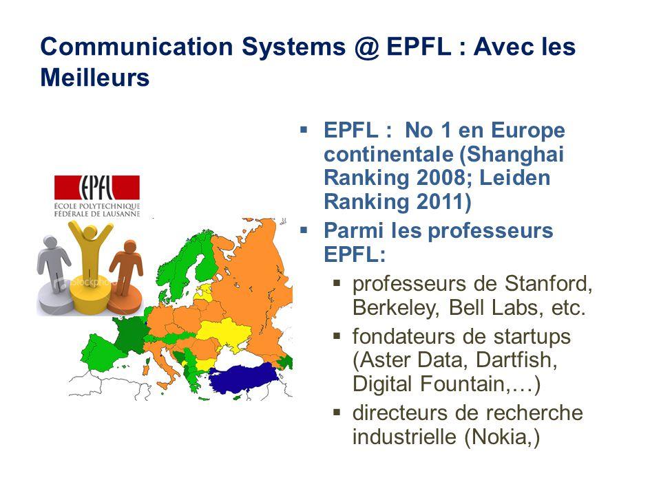 Communication Systems @ EPFL : Avec les Meilleurs EPFL : No 1 en Europe continentale (Shanghai Ranking 2008; Leiden Ranking 2011) Parmi les professeurs EPFL: professeurs de Stanford, Berkeley, Bell Labs, etc.