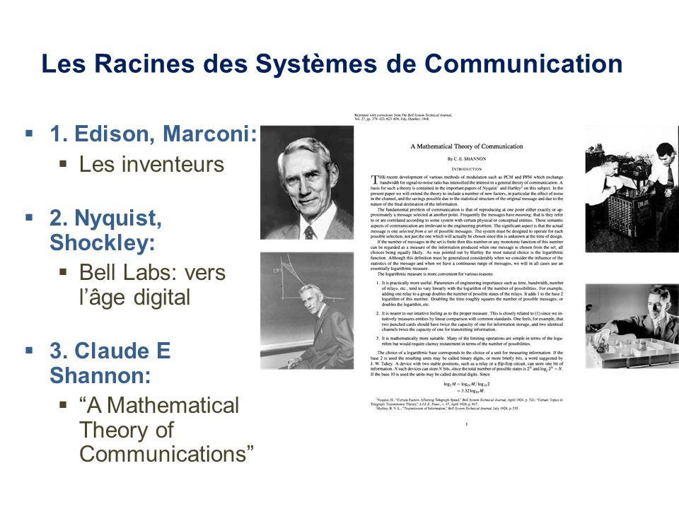 Les Racines des Systèmes de Communication 1. Edison, Marconi: Les inventeurs 2.