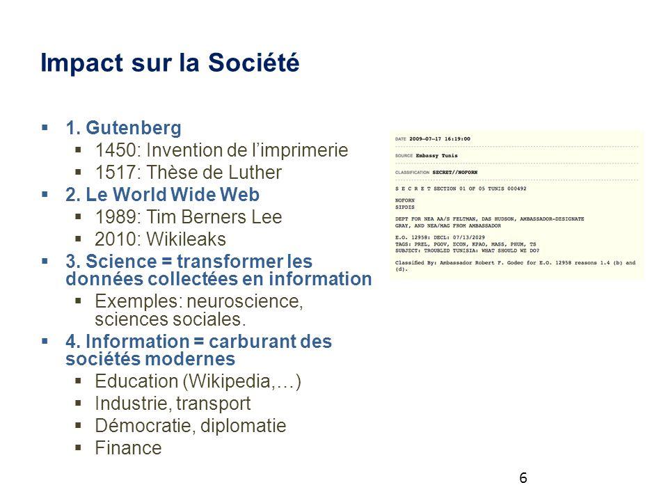 Impact sur la Société 1. Gutenberg 1450: Invention de limprimerie 1517: Thèse de Luther 2.
