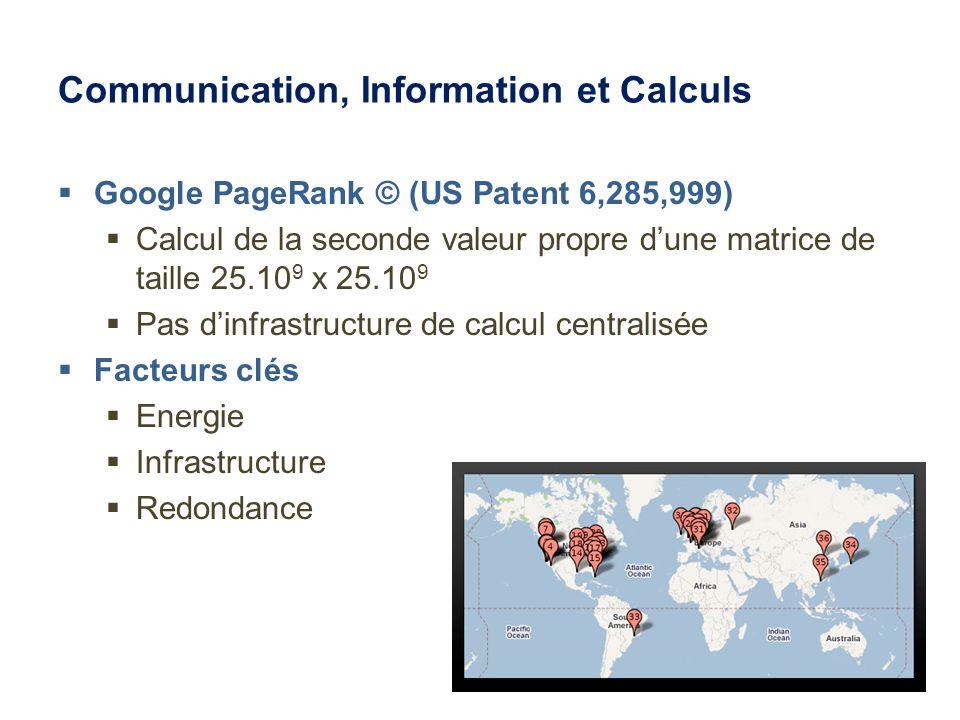 Communication, Information et Calculs Google PageRank © (US Patent 6,285,999) Calcul de la seconde valeur propre dune matrice de taille 25.10 9 x 25.10 9 Pas dinfrastructure de calcul centralisée Facteurs clés Energie Infrastructure Redondance