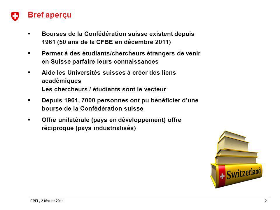 2 EPFL, 2 février 2011 Bref aperçu Bourses de la Confédération suisse existent depuis 1961 (50 ans de la CFBE en décembre 2011) Permet à des étudiants