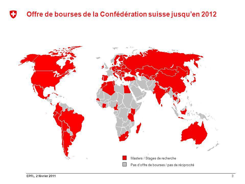 3 EPFL, 2 février 2011 Offre de bourses de la Confédération suisse jusquen 2012 Masters / Stages de recherche Pas doffre de bourses / pas de réciproci