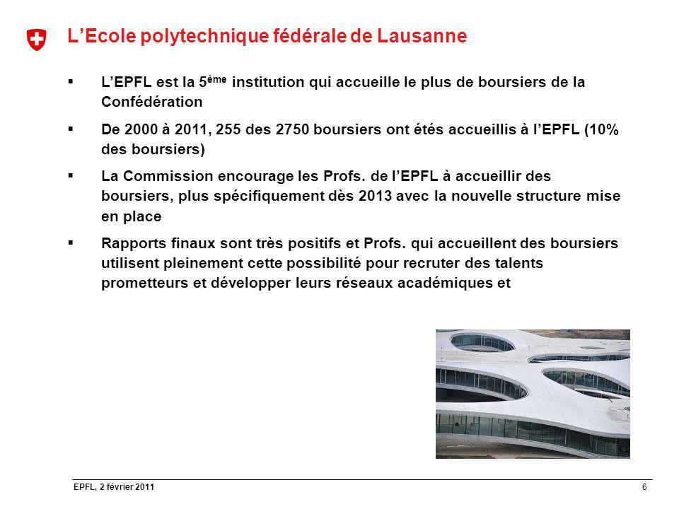 6 EPFL, 2 février 2011 LEcole polytechnique fédérale de Lausanne LEPFL est la 5 ème institution qui accueille le plus de boursiers de la Confédération