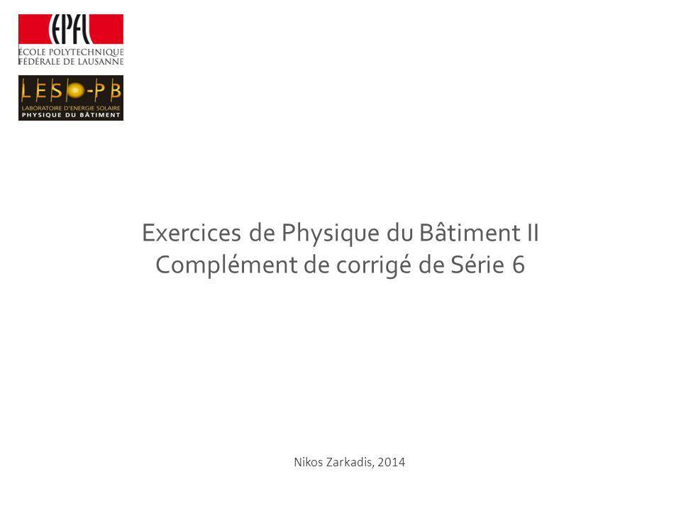 Exercices de Physique du Bâtiment II Complément de corrigé de Série 6 Nikos Zarkadis, 2014