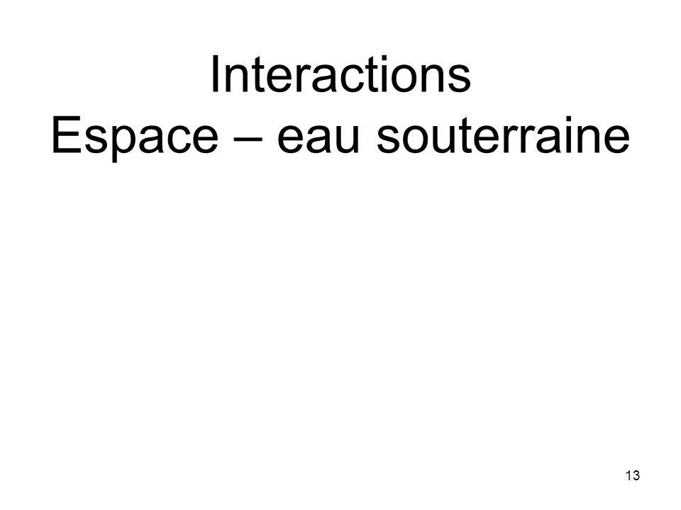 Interactions Espace – eau souterraine 13