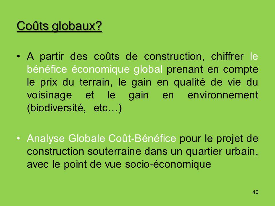 Coûts globaux? 40 A partir des coûts de construction, chiffrer le bénéfice économique global prenant en compte le prix du terrain, le gain en qualité