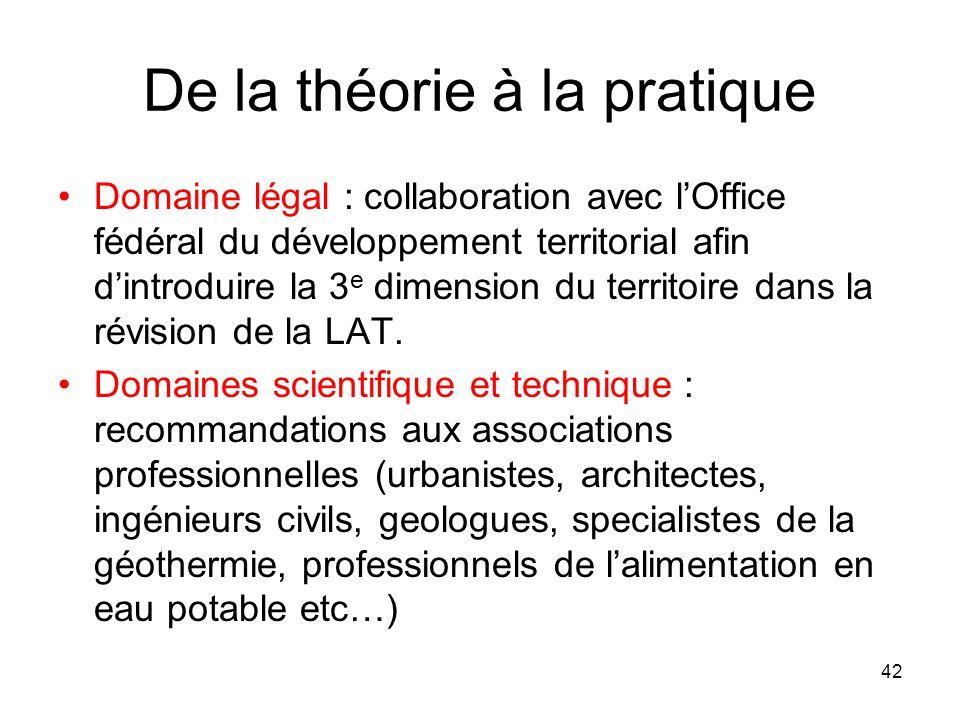 De la théorie à la pratique Domaine légal : collaboration avec lOffice fédéral du développement territorial afin dintroduire la 3 e dimension du terri